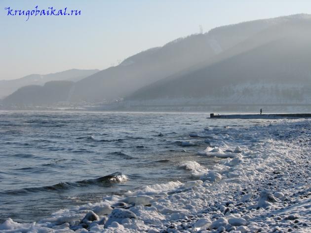 Байкал зимой фото: южное побережье, набережная в Слюдянке, волнолом. Photo of Lake Baikal in winter. Southern coast of Lake Baikal in winter, embankment in Sludyanka, breakwater