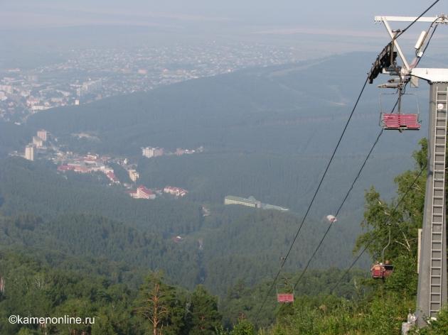 Это вид на курортную зону с горы Церковка. This is a view of the resort area of Belokuriha from the Tserkovka Mount