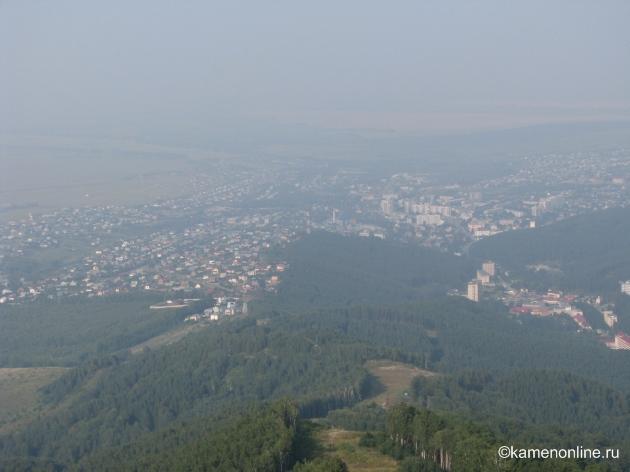 Обзорный вид Белокурихи с горы Церковка. This panoramic view of the Belokurikha from the Tserkovka Mount