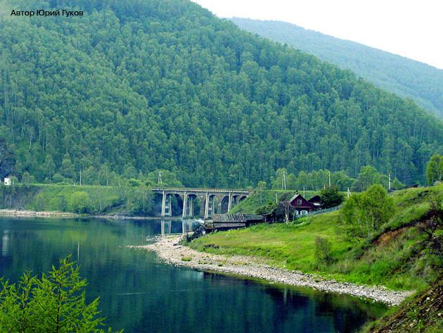 Кругобайкальская железная дорога КБЖД Озеро Байкал Старая Ангасолка Железобетонный Виадук Фото