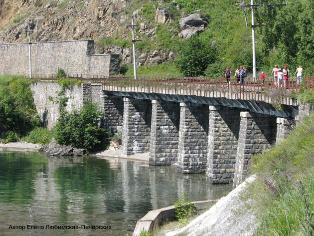Старая Кругобайкальская железная дорога КБЖД Мост через реку Малая Шумиха Фото
