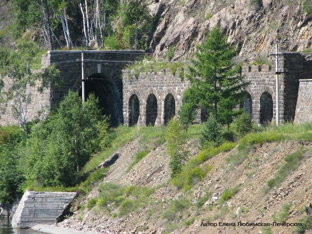 Старая Кругобайкальская железная дорога КБЖД Шумиха Итальянская подпорная стенка Фото